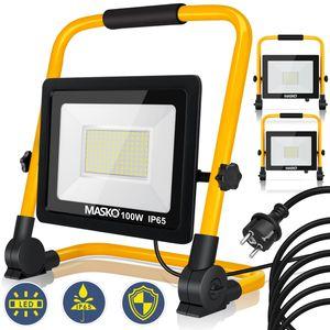 MASKO® LED Baustrahler - Arbeitsleuchte - Arbeitsscheinwerfer - 5m Netzkabel - Bauscheinwerfer - inkl. Standgestell und Tragegriff - Baulampe - Flutlicht - Strahler Baustellenlampe innen außen, Größe:30W