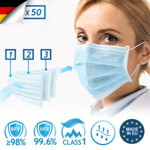 Virshields® Medizinischer Mundschutz - Typ II/IIR, BFE 98% / VFE 99,6%, DIN EN 14683,  EU, 50-2000 STK, 3-lagig, Farbwahl - OP Masken, Mund und Nasenschutz, Gesichtsmaske (Blau, 50 Stück)