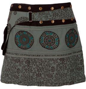 Wickelrock, Kurzer Rock, Cacheur, Mandala Patchworkrock - Graugrün, Damen, Blau, Baumwolle, Röcke / Kurz