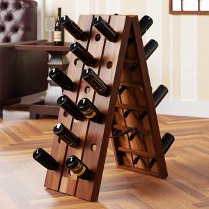 Deuba Weinregal Flaschenständer Holz »Rüttelpult« für 36 Flaschen klappbar rustikal Weinständer Flaschenhalter Wein Regal