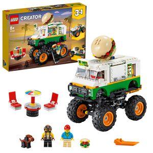 LEGO 31104 Creator 3in1 Burger-Monster-Truck, Geländewagen oder Traktor, Spielzeug, verschiedene Fahrzeuge als Konstruktionsspielzeug