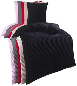 Kuscheli® Winter Wende Plüsch Bettwäsche 135 x 200 od. 155 x 220 mit 80x80 Kissenbezug Cashmere-Touch  Deckenbezug , Farbe:SCHWARZ, Größe:135x200 + 80x80