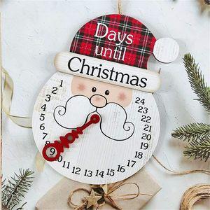 Holz Weihnachten Countdown Adventskalender, 24 Tage Countdown-Kalender Weihnachtsschmuck Hängende Wanddekorationen (Weihnachtsmann)