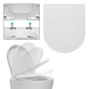 ECD Germany Premium Duroplast Toilettendeckel D-Form mit Soft-Close Absenkautomatik auf Knopfdruck abnehmbar Wei?, inkl. Befestigungsmaterial, Klodeckel WC Sitz WC Deckel Toilettensitz Klobrille