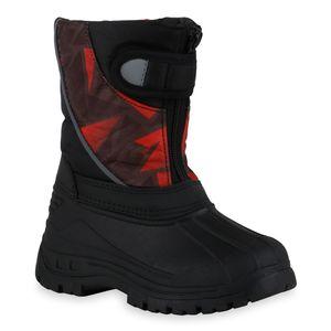 Mytrendshoe Kinder Warm Gefütterte Winter Boots Bequeme Profil-Sohle Schuhe 836185, Farbe: Schwarz Hellbraun Rot Muster, Größe: 29