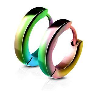 viva-adorno 1 Paar Damen Ohrringe Creolen Edelstahl glänzend poliert schmal ER94_2,5mm, regenbogen