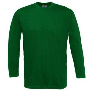 B&C Herren Longsleeve / T-Shirt mit Rundhals-Ausschnitt, Langarm BC2010 (XL) (Flaschengrün)