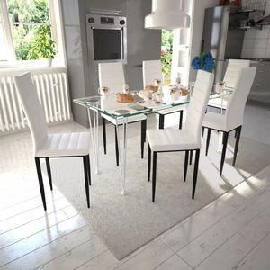 Essgruppe Weiß Slim Line 6 Stühle und 1 Glastisch