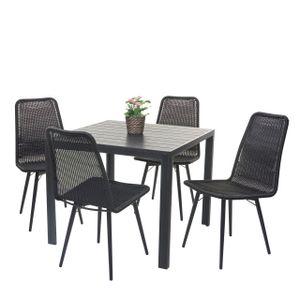 Gartengarnitur HWC-F90, Sitzgruppe Balkon-/Lounge-Set, WPC-Tischplatte 4xPoly-Rattan Stuhl+Tisch 76x90x90cm  schwarz