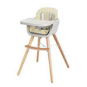 Babyhochstuhl Holz,Kombihochstuhl Baby, Holzhochstuhl Kinder mit einstellbares Esstischchen Beige
