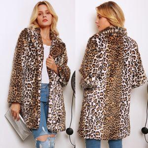 Mode Frauen Winter Leopardenmuster Mantel Kunstpelz Umlegekragen Langarm Dicke Tasche Verdeckte Taste Flauschige Jacke Langer Mantel M