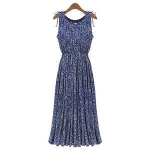 Damenmode Boho Floral Ärmelloses Langes Kleid Sommer Maxi Abend Party Rock XL ALCYONEUS1