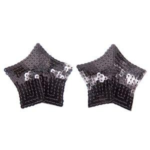 Damen Pailletten Nippelabdeckung Nipple Cover Brustwarzenabdeckung Brust Aufkleber Selbstklebend & Wiederverwendbar Farbe Schwarz