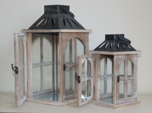 Holzlaterne mit Metalldach 2er-Set antikgrau