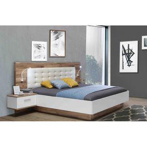 MRWL2182-C811 MODERN WAY Stabeiche Nb. / Weiß Doppelbett Ehebett Schlafzimmer inkl. Nachtkommoden 180 x 200 cm