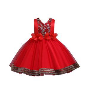 Weibliche Baby-Blumen-Tutu Formale Hochzeit Prinzessin Brautjungfer Prinzessin Kleid,Farbe:Rot,Größe:120(5-6T)