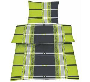 2tlg Bettwäsche-Set Bett Bettgarnitur Bettbezug 135x200 Kissenbezug 80x80 Schlafzimmer Mikrofaser Grau Grün Modern Kariert