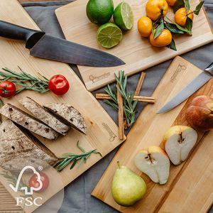 Schneidebrett Holz Set - Holzbrett für Küche umweltfreundlich und aus Birkenholz hergestellt - Holzschneidebrett für Brot, Gemüse, Obst, Fleisch, Fisch