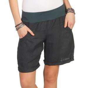 Bermuda Shorts Damen Leinenshorts kurze Hose Freizeithose 100% Leinen Shorts Uni Sommer Strand Art. 276   Graphit L