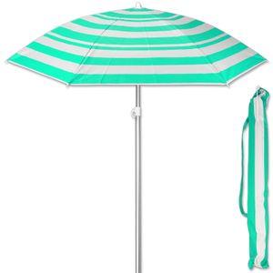 Sonnenschirm Streifen Grün 175 cm Strandschirm UV 50+ Sonnenschutz Gartenschirm verstellbar Schirm
