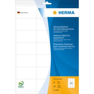 HERMA Adress Etiketten 70 x 42 mm Ecken spitz weiß 420 Etiketten