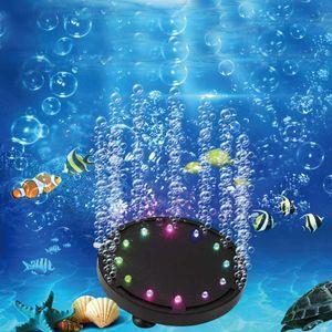 Aquarium LED Lampe, Tauch Aquarium Lampe, Aquarium Luftblasenlicht mehrfarbig tauchfähig 12 LEDs für Aquarien und Fischteiche