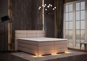 Roma Boxspringbett mit Bettkasten Beige Stoff - 200 x 200 cm