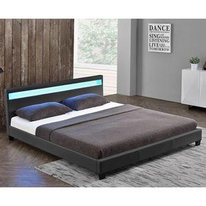 Polsterbett Paris 160 x 200 cm grau – Bettgestell mit LED Beleuchtung, Lattenrost & Kopfteil – Kunstleder & Holz – Bett Doppelbett | Juskys