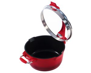 Ø20cm Multifunktionstopf / Kochtopf Aluguss KING® mit Keramikbeschichtung Innen: FUSION® TI mit Ausguss-Sieb im Deckel / Farbe: Rot