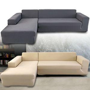 2pcs Sofabezug L Form Stretch Elastische Sofahusse Abdeckung Schnittsofa Cover Sofa Stretch Protector Couch Schonbezug Sesselbezug Sesselüberwurf (Beige)