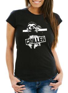Damen T-Shirt Faultier Born Chiller Sloth Slim Fit Moonworks® schwarz XL