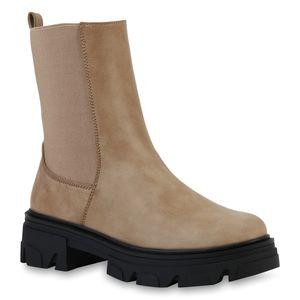 VAN HILL Damen Stiefeletten Plateau Boots Stiefel Profil-Sohle Schuhe 835598, Farbe: Khaki, Größe: 38