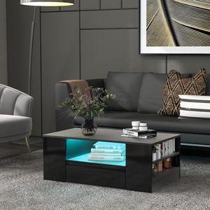 Merax LED Couchtisch Hochglanz Beistelltisch mit 2 Schubladen und 2 Ablagen, LED-Licht mit 16 Farben und 4 Modi, Sofatisch Kaffeetisch 95 x 53 x 37cm, Schwarz