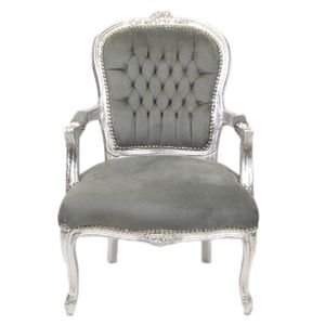 Barock Stuhl Salon Stuhl Salonstuhl Barockstuhl Grau Silber Stoff Antik Repro Luxus Royal Salon Kamin Elegant Relax