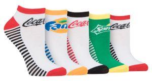 Coca Coca - 5er Pack Lustig Sneakersocken | Geschenk Kurz Socken für Damen