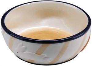futternapf Kaninchen 10 cm 0,36 Liter Keramik weiß/braun