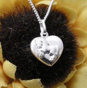 Kinderkette Silber Kinder Kette Herz mit Pferd Anhänger Kinderschmuck