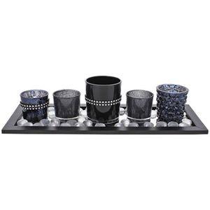 Teelichthalter-Set Keramik Teelichthalter Kerzenständer Kerzenhalter Windlicht HA-001TH Schwarz