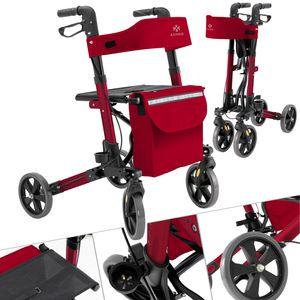 KESSER Rollator Gehwagen Gehhilfe klappbar Alu-Rollator Leicht Laufhilfe , Farbe:Rollator Rot