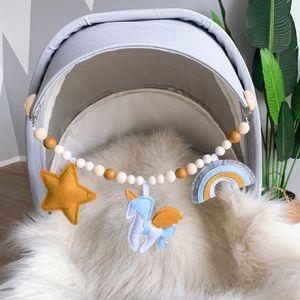 Kinderwagen Spielzeug Set Holz Anhänger Armband Perlen Baby Schnuller Clip Kinderwagen Kette mit Blatt Anhänger Baby Sensory Hängendes Spielzeug