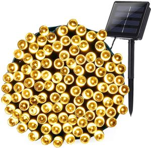 Solar Lichterkette Weihnachtsbeleuchtung außen, 22M 200 LED Solar Lichterkette Aussen Wasserdichte(Warmweiß)