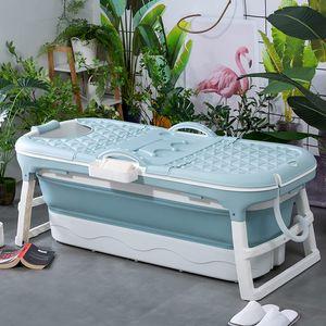 Schwänlein® Faltbare Badewanne Erwachsene 148cm   mit Seifenkorb, Nackenkissen, Fussmassageroller, Praktisch und Tragbar   Ideal für kleine Badezimmer (Blau, 148)