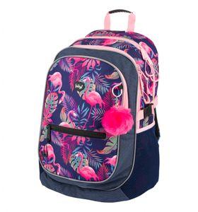 Baagl Schulrucksack für Mädchen, Kinderrucksack mit ergonomisch geformter Rücken, Brustgurt und reflektierende Elemente (Flamingo)