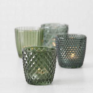 4tlg. Windlicht MARILU grün Muster geriffelt aus Glas (4 Motive)