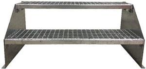 2 stufige freistehende Stahltreppe Standtreppe Breite 100cm / Geschosshöhe 42cm verzinkt