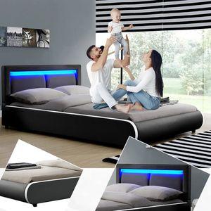 Juskys Polsterbett Murcia 140 x 200 cm – Bett mit LED, Lattenrost, Kopfteil & Kunstleder – Bettgestell gepolstert, gemütlich & modern - schwarz
