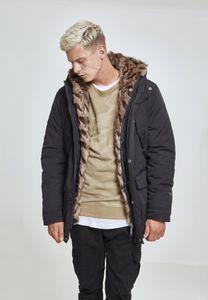 Urban Classics Hooded Faux Fur Parka TB2431, color:black, groesse herren:XL