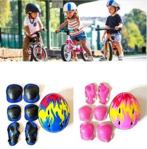 7 Teile/Set Kinder Schutzhelm Knie Ellbogen Schutz Schoner Set Für Skateboards BMX und Stunt Scooter Fahrrad Blau