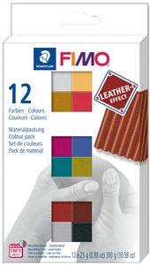 FIMO EFFECT LEATHER Modelliermasse-Set 12er Set
