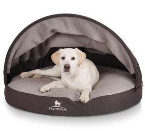 Knuffelwuff Hundehöhle Lucas aus Velours mit Handwebcharakter und stabilem Dach Ø 100cm Anthrazit-Grau